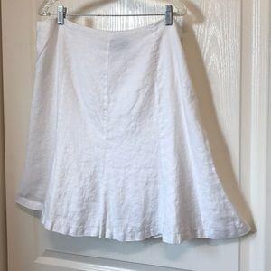 American Living White Linen Flare Skirt Size 16